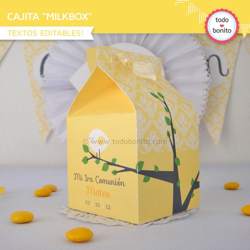 Cajita milkbox de pajarito amarillo