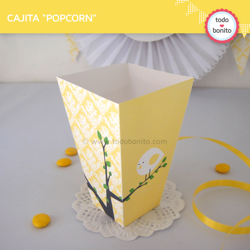 Cajita popcorn de pajarito amarillo