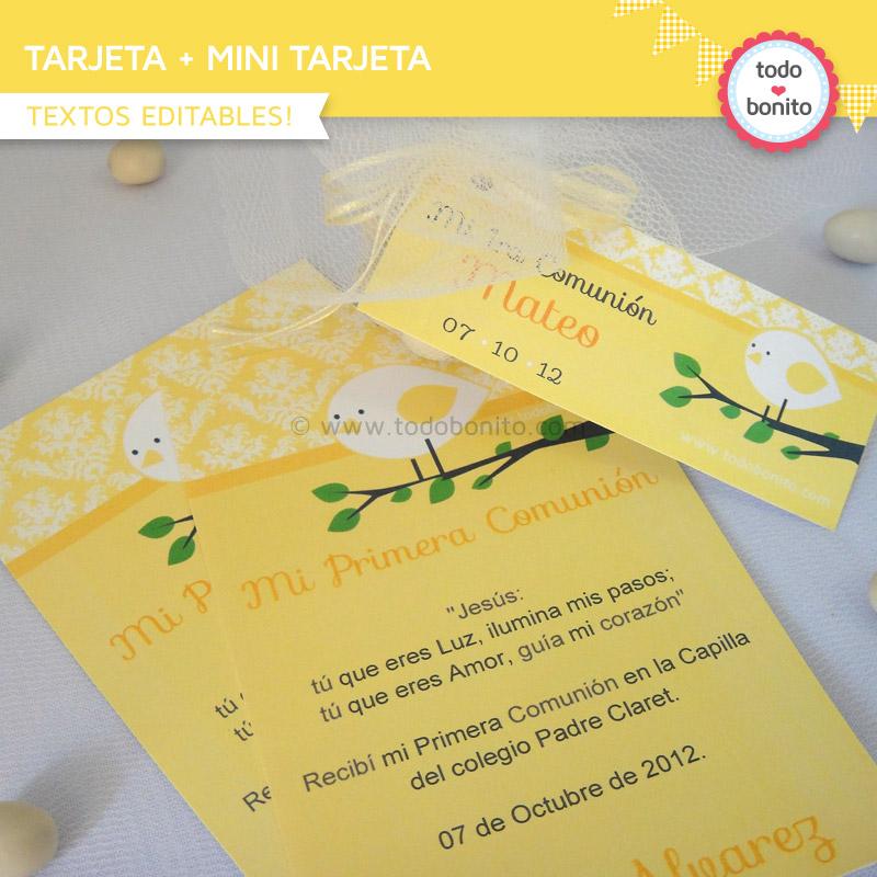 Tarjeta y mini tarjeta de pajarito amarillo
