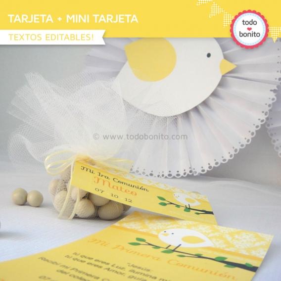 kit imprimible pajarito amarillo tarjeta