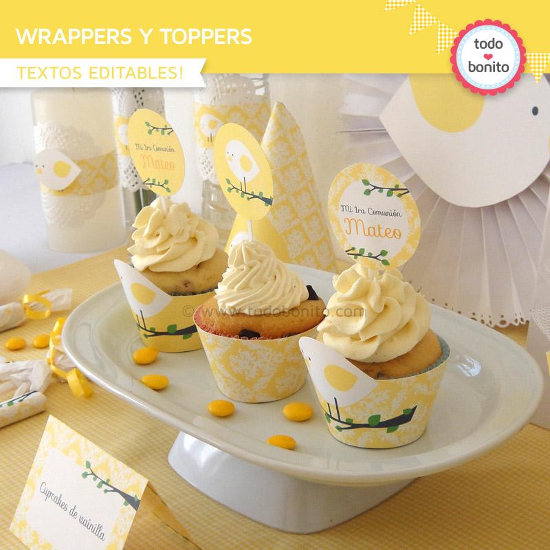 Wrappers y toppers de pajarito amarillo