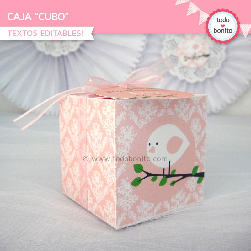 Caja cubo pajarito rosa todo bonito