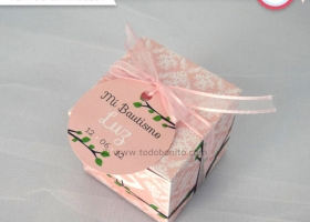 Decoración de Bautismo pajarito rosa