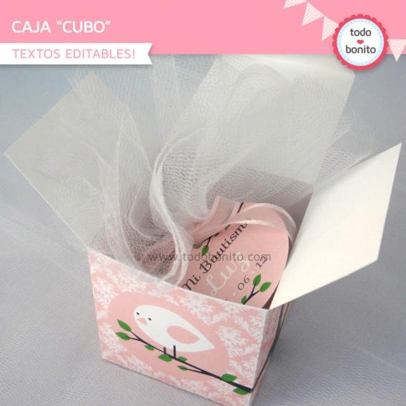 kit imprimible pajarito rosa caja cubo