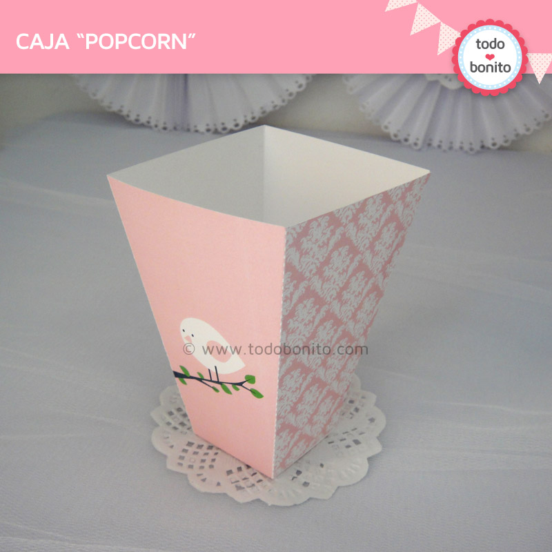 Caja PopCorn pajaritos rosas todo bonito