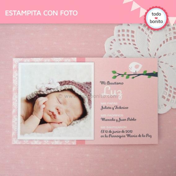 Estampita con Foto Kit Imprimible Pajarito Rosa Todo Bonito