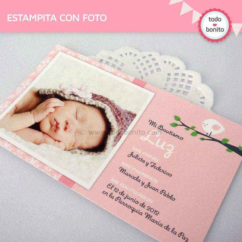 Estampita con foto imprimible pajarito rosa todo bonito