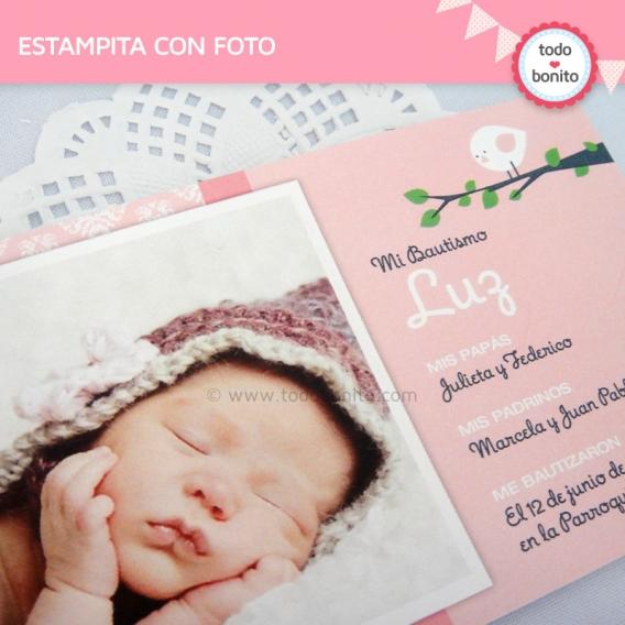 kit imprimible pajarito rosa tarjeta con foto