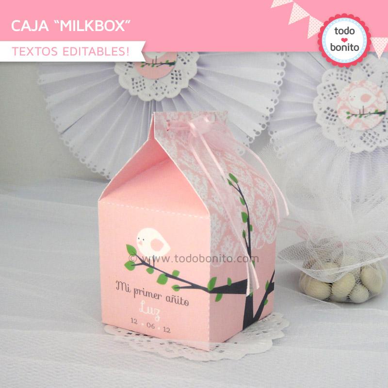 Cajita MilkBox imprimible pajarito rosa Todo Bonito