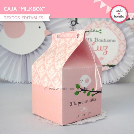 Caja MilkBox Kit Imprimible Pajarito Rosa Todo Bonito