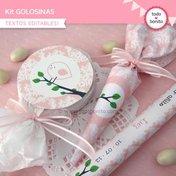 kit imprimible pajarito rosa golosinas