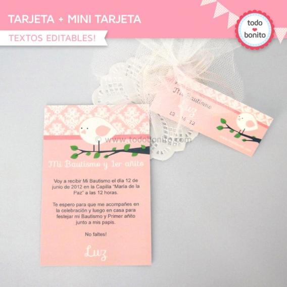 Tarjeta y Mini Tarjeta Kit Imprimible Pajarito Rosa Todo Bonito