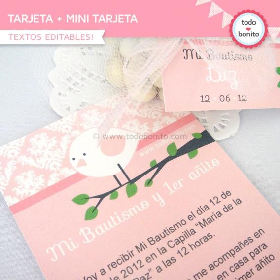 kit imprimible pajarito rosa tarjeta