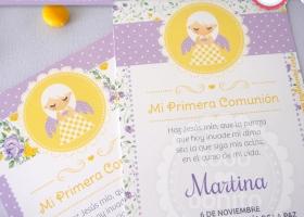 Estampita 1ra comunion niñas en amarillo y violeta