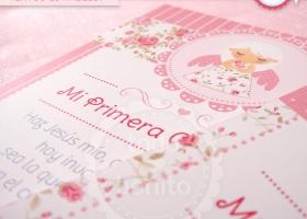 Estampita 1ra comunion rosa con flores y ángel