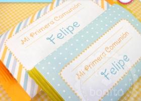 Etiquetas de golosinas Primera Comunión niños para imprimir