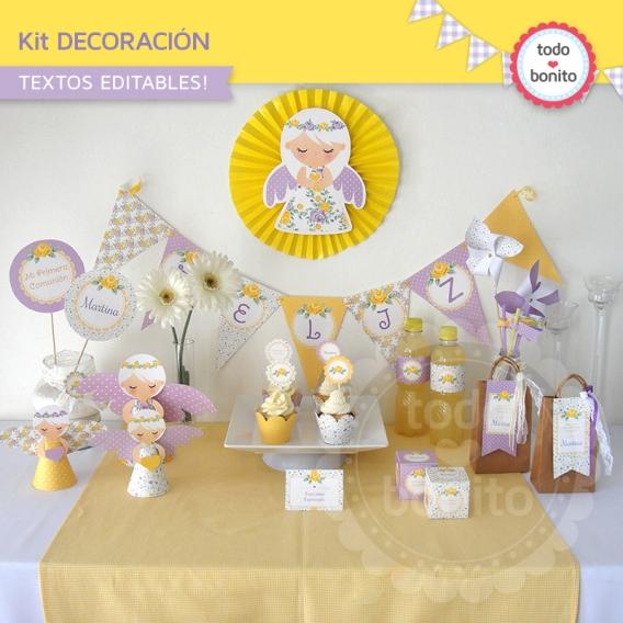 Decoración de fiesta Shabby Chic violeta y amarillo