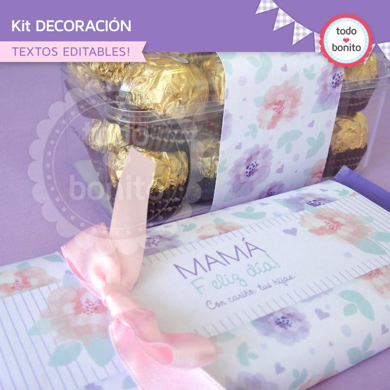 Kit imprimible d a de la madre todo bonito - Decoracion para el dia de la madre ...