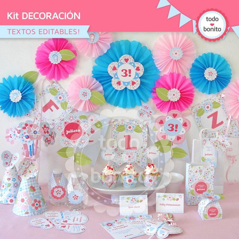 Kit de decoración imprimible de flores y mariposas