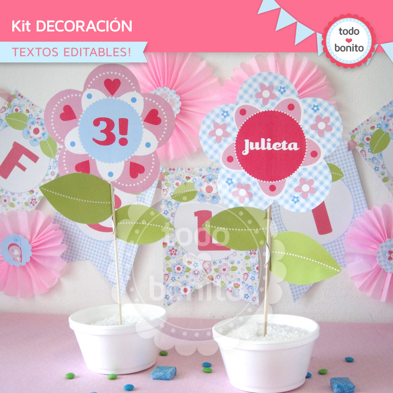 Kit imprimible flores y mariposas for Decoracion para todo