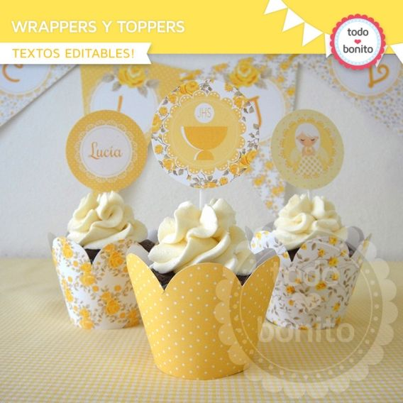 Wrappers y Toppers imprimibles Shabby Chic Amarillo Todo Bonito