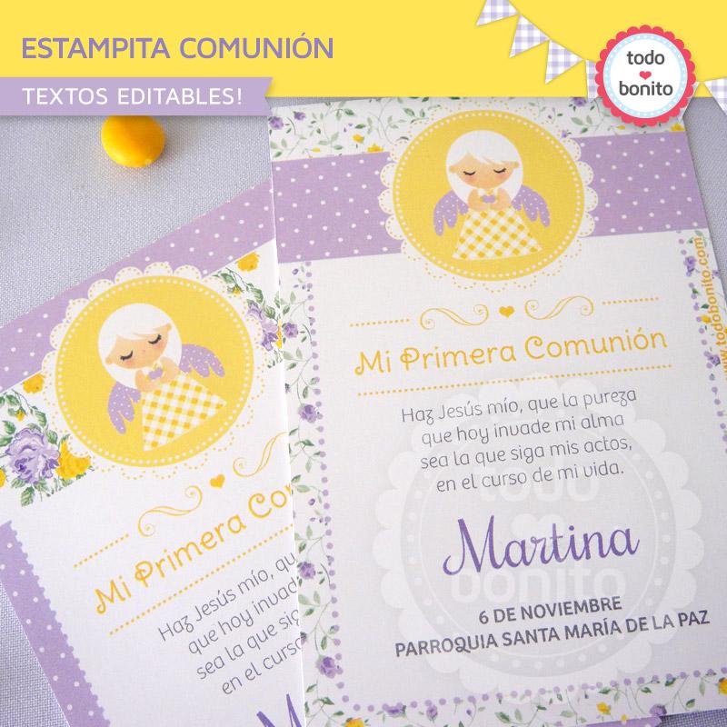 decoraciones de Primera Comunión para niñas en amarillo con violeta