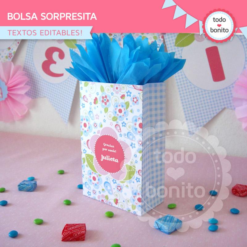 Bolsa sorpresita imprimible y editable con flores y mariposas
