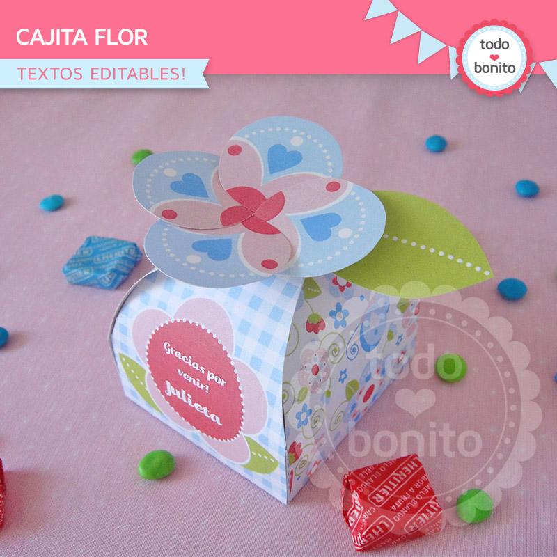 Cajita flor imprimible y editable modelo flores y mariposas