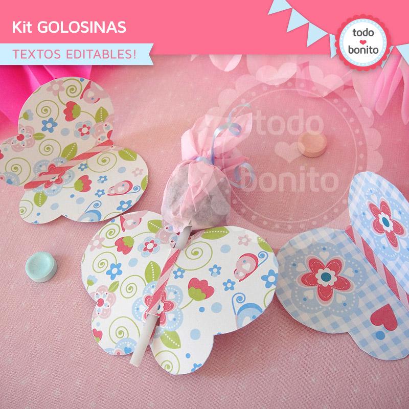 Envoltorios de golosinas imprimibles y editables modelo flores y mariposas