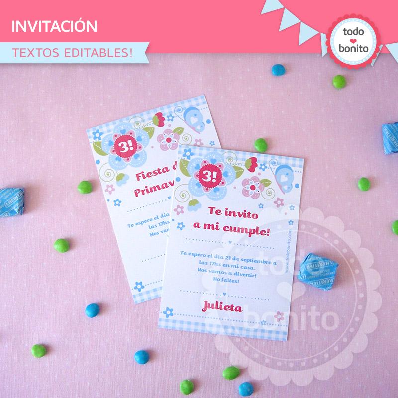 Invitación imprimible Kit modelo flores y mariposas