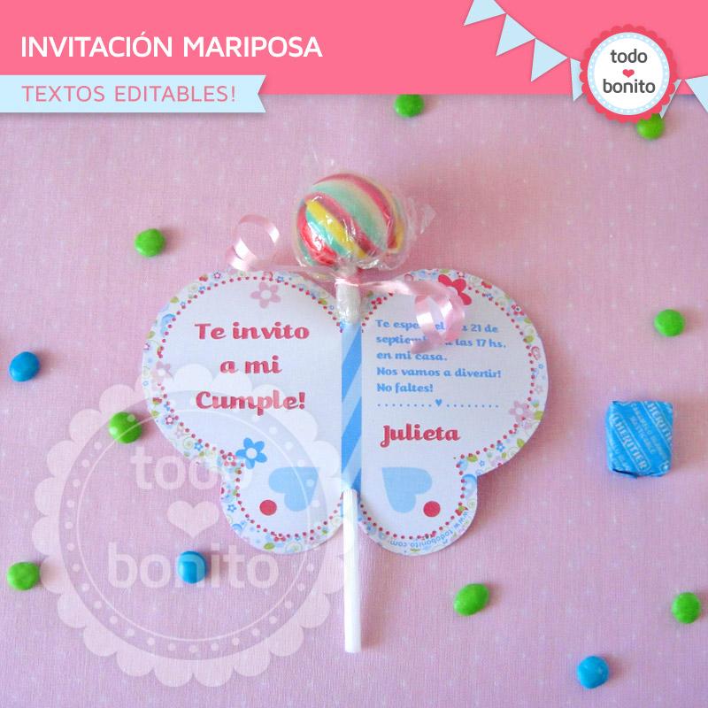 Invitación forma mariposa imprimible Kit modelo flores y mariposas