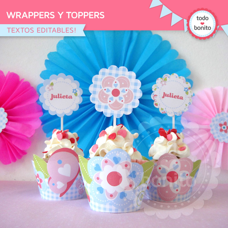 Wrappers y toppers imprimibles Kit modelo flores y mariposas