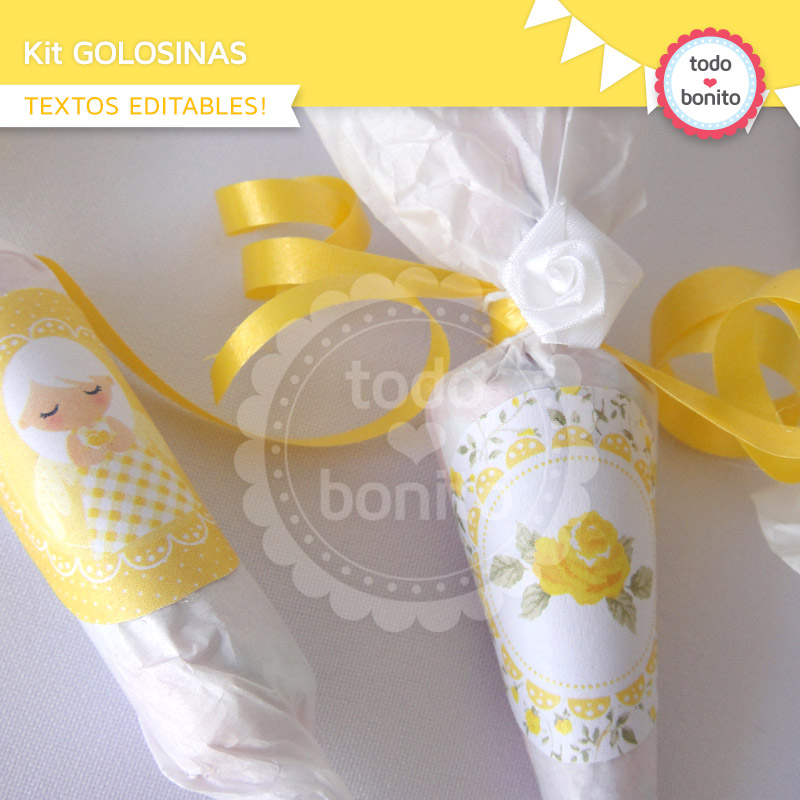 Pin decoraci n de primera comuni n ni as todo amarillo - Adornos para primera comunion ...
