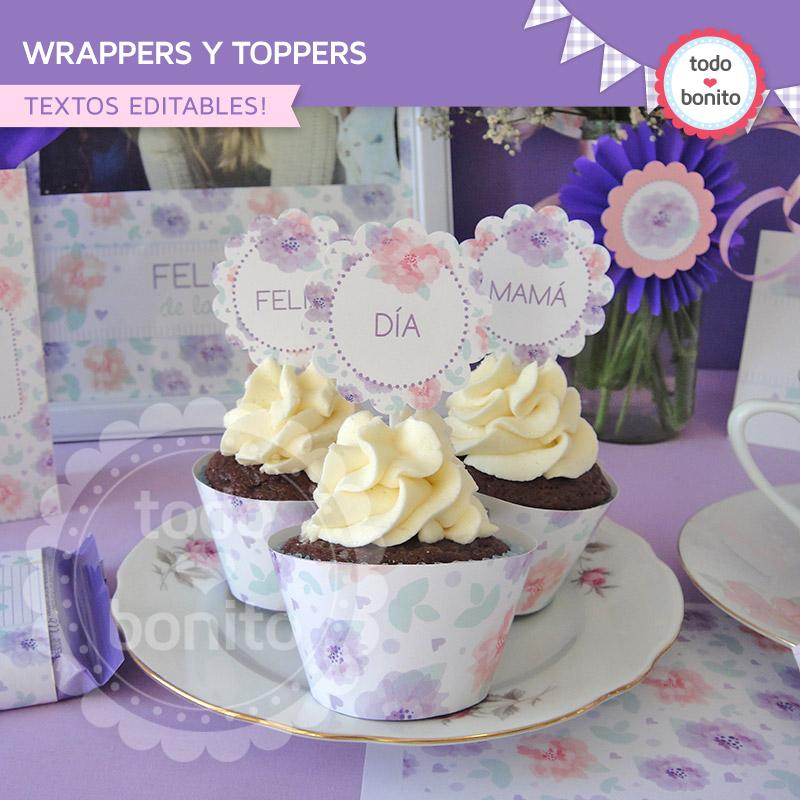 wrappers y toppers con flores dia de la madre para imprimir