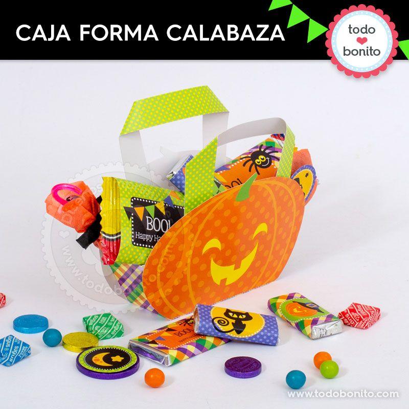 Caja calabaza para imprimir de Halloween por Todo Bonito