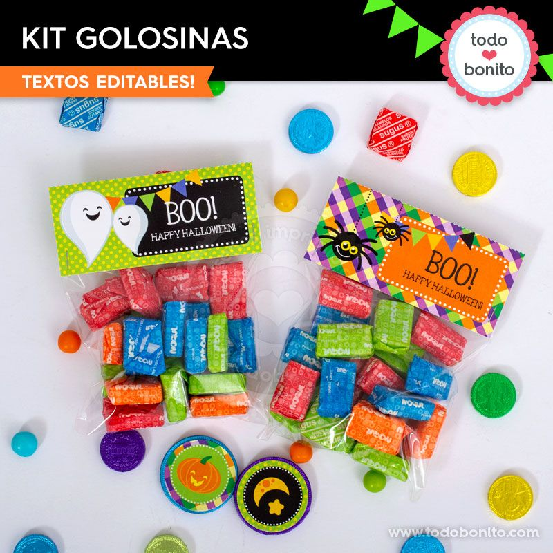 Kit imprimible golosinas de Halloween por Todo Bonito