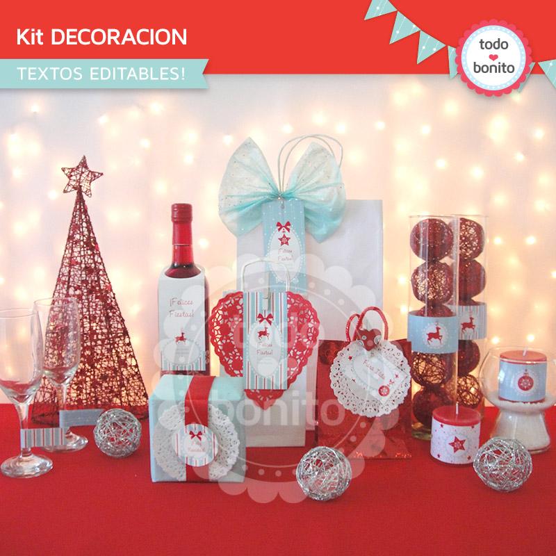 Kit imprimible para decorar navidad - Decorar fotos de navidad gratis ...