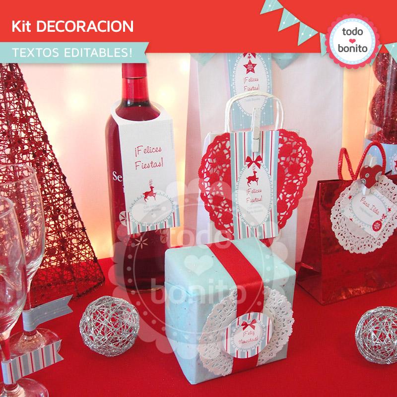 Kit para imprimir en tonos aqua y rojo