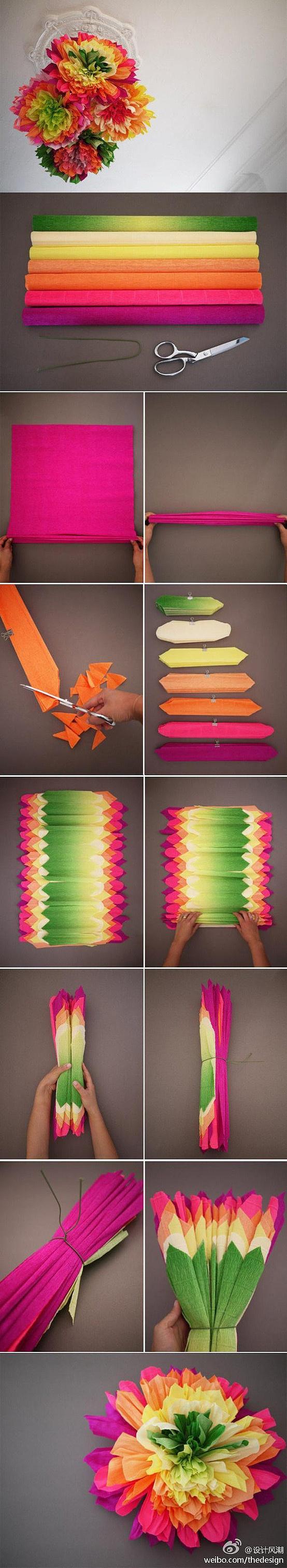Pompones de papel creppé multicolor