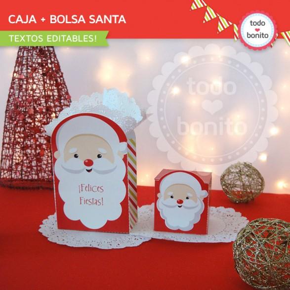 Bolsita y caja de Navidad para imprimir carita de Santa