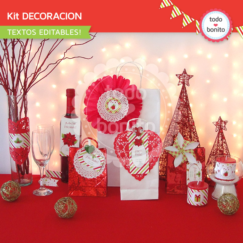 Kit imprimible para decorar navidad rojo y verde for Decoracion para todo
