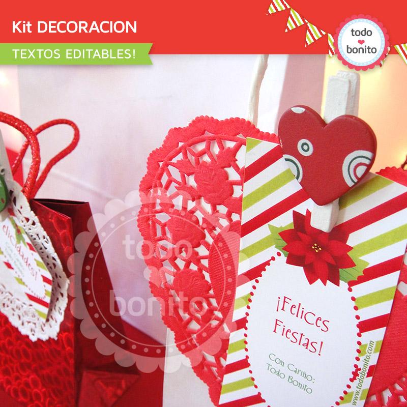 Kit imprimible para decorar Navidad ROJO y VERDE