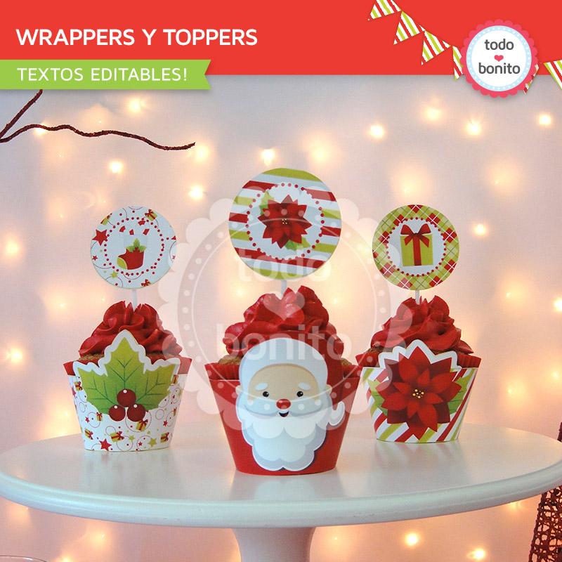 Wrappers y toppers de Navidad para imprimir Todo Bonito