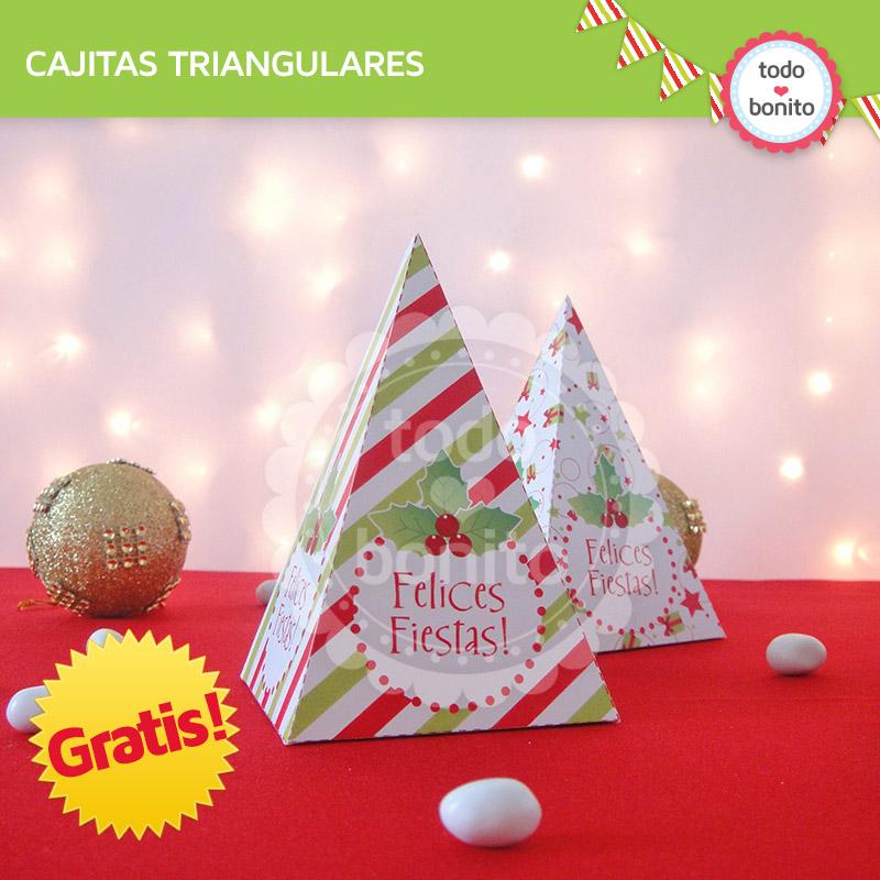 Cajitas triangulares de Navidad Gratis - Todo Bonito