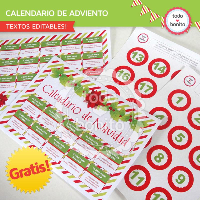 Calendario de Adviento para imprimir GRATIS! - Todo Bonito
