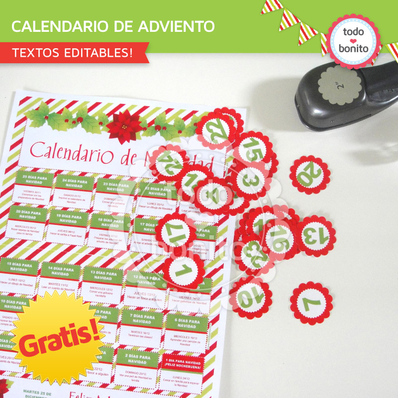 Calendario de adviento para imprimir gratis todo bonito - Que poner en un calendario de adviento ...