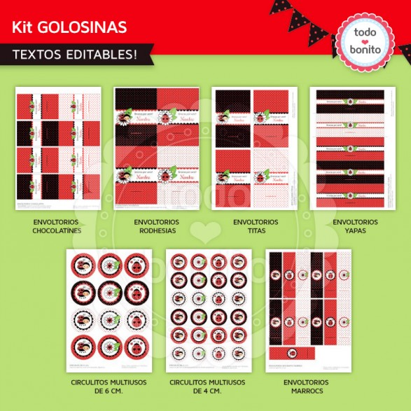Etiquetas de golosinas Vaquitas de San Antonio en rojo para imprimir