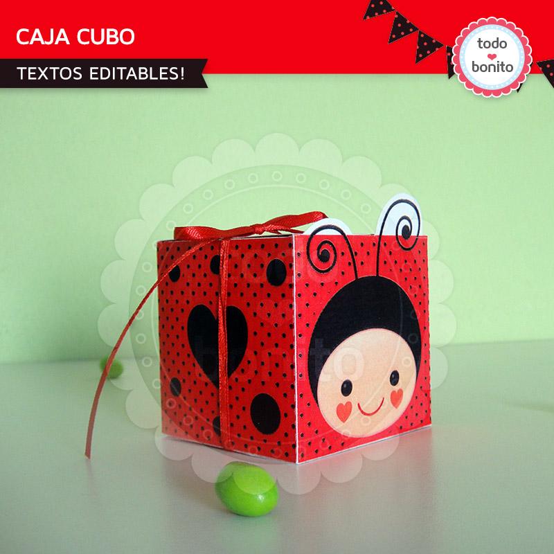 Caja Cubo imprimible vaquitas de san antonio