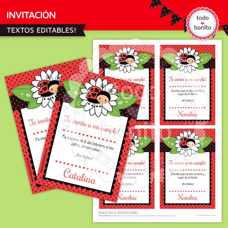 Invitacion imprimible vaquitas de san antonio