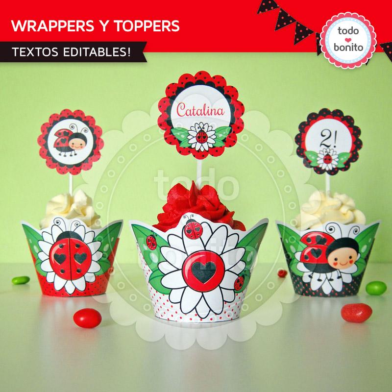 Wrappers y Toppers imprimibles vaquitas de san antonio